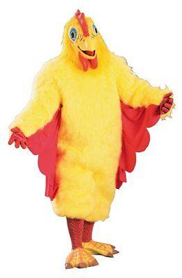 Huhn Maskottchen Kostüm 8 St.Gelb Kunstpelz Anzug Maske Socken Gummihandschuhe - Huhn Maskottchen Kostüm