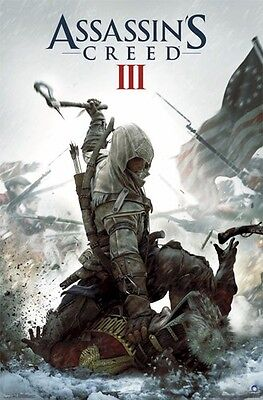 UBISOFT XBOX 360 ASSASSINS CREED 3 KEY ART VIDEO GAME POSTER 22x34 FREE SHIPPING for sale  Shipping to India