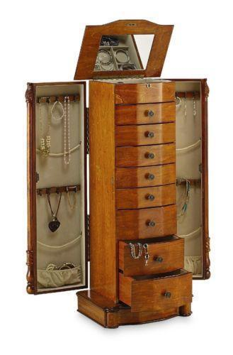 mirrored jewelry cabinet oak jewelry armoire ebay 23407