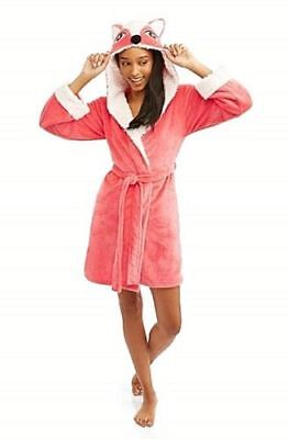 (Body Candy Huggable Luxe Fox Critter Ears Sleepwear Robe Sz S)