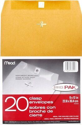 Mead 9 X 12 Clasp Heavy Weight Legal Size Office Envelopes 20 Pack 76020
