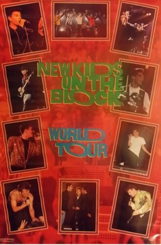 "VINTAGE SEALED ORIGINAL NEW KIDS ON THE BLOCK LIVE NKOTB 34X22"" 1990 Poster"