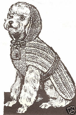Vintage Knitting PATTERN to make Dog Sweater Coat Hoodie Blanket KnitDogHoodie