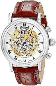 "NEW Ingersoll Men's IN2700WH ""Gandhi"" Stainless Steel Automatic Watch with Brown Leather"