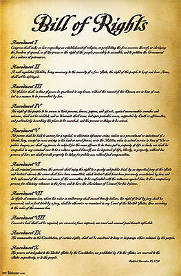 The Bill Of Rights U S  Constitution First 10 Amendments Historic Wall Poster