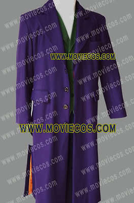 Movie Heath Ledger Joker Purple Trench Wool Trench Coat Costume Halloween Party](Heath Ledger Joker Costume Halloween)