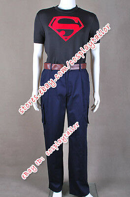 Young Justice Superboy Cosplay Costume Shirt Pants Belt Uniform Suit Popular