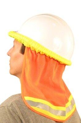 6 Safety Hard Hat Neck Shield Helmet Sun Shade Hi Vis Reflective Stripe - Orange