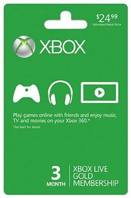 MICROSOFT XBOX 360 LIVE 3 MONTH GOLD CARD ~NEW! FAST!~ for sale  Urbana