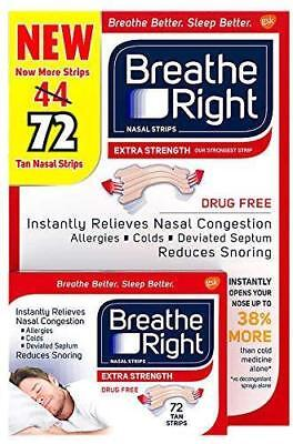 Breathe Right Extra Tan Nasal Strips 72 Strips  Breathe Right Nasal Strips