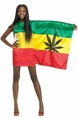 Fun World Rasta Girl One Sleeve Flag Dress Adult Costume