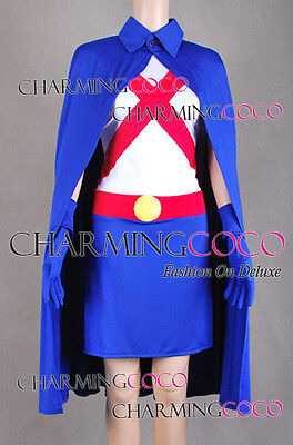 Young Justice Costumes (Young Justice Miss Martian Cosplay Costume Shirt Skirt Full Set Blue Cape)
