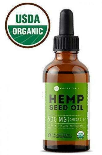 Organic Hemp Seed Oil Drops 500mg by Kate Naturals - Premium Pain Relief Anti-In