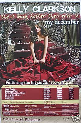 """KELLY CLARKSON """"MY DECEMBER"""" PROMO POSTER FROM MALAYSIA"""