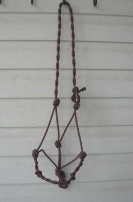 Black 4 Knot Twisted Hand Tied Natural Horsemanship Rope Halter Bitless Bridle