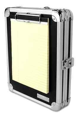 Vaultz Locking Storage Aluminum Clipboard Hard Black Solid Briefcase Case Paper