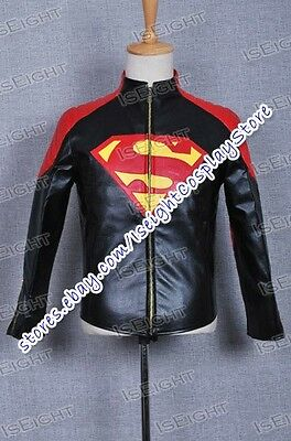 Smallville Costume Clark Kent Black Red Leather Jacket Cosplay Coat Halloween