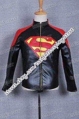 Smallville Costume Clark Kent Black Red Leather Jacket Cosplay Coat Halloween
