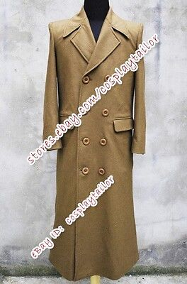 Costume Purchase (Doctor Purchase Who Halloween Dr Brown Wool Trench Coat Jacket Cosplay Costume)