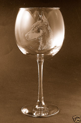 Etched Doberman Pinscher on Large Elegant Wine Glasses - Set of 2