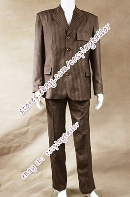 Costume Purchase (Doctor Purchase Who Cosplay Dr Brown Strip Suit Halloween Party Male Costume)