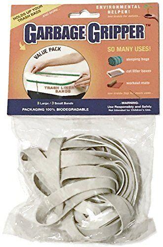Garbage Gripper Reusable Trash Bag Can Liner Rubber Bands 6 Piece Value Bag! General Household Supplies