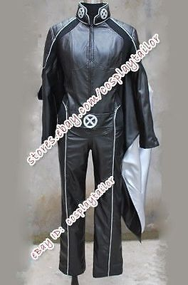Storm X Men Cape (X-MEN Cosplay Storm Costume Outfit Black Leather Jumpsuit With Cape High)