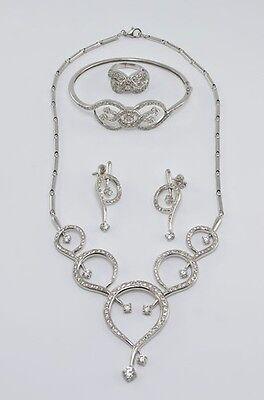 Stunning 18k White Gold Sapphire Set Necklace Earrings Bracelet and Ring