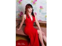 Floor length Red evening gown with train size 8-10