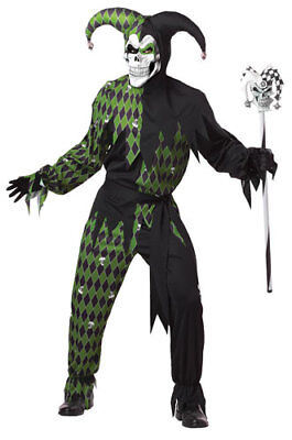 Adult Green And Black Evil Jester Mens Costume - Green Jester Costume