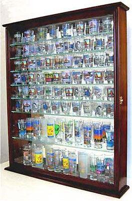 110 Shot Glass Display Case Wall Cabinet Rack Shadow Box. SC09-MA
