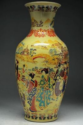 DELICATE JAPANESE CHINA FAMILLE ROSE PORCELAIN HAND PAINTING BELLE VASE QIANLONG