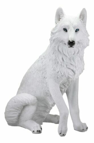 "Large Artemis Wildlife Sitting Alpha Albino Ghost White Wolf Statue 20.5""H"
