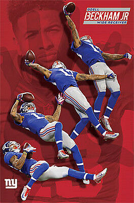 Odell Beckham Jr  Multi Action Miracle Catch New York Giants Nfl Wall Poster