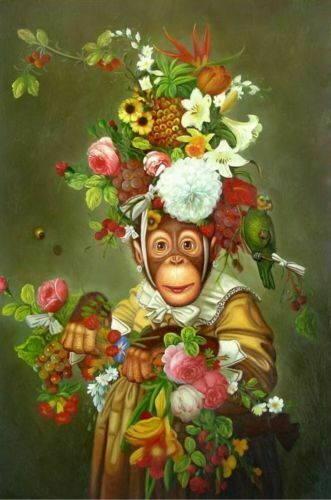 ZWPT1469  100% hand painted oil painting monkey charming flowers art on Canvas
