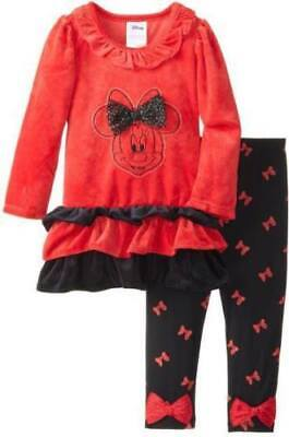 MINNIE MOUSE VELOUR 2-PIECE RED/BLACK OUTFIT  - New - Size 2T