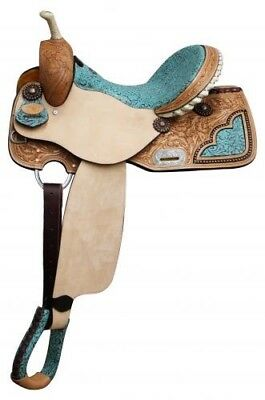 "14"" Double T barrel style saddle with TEAL filigree print seat! NEW HORSE TACK for sale  Shipping to Canada"