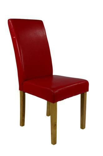 Red leather dining room chairs ebay for Red dining room chairs