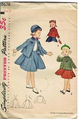 Vintage Pattern Girls Suit Jacket Skirt Simplicity 3676 1950s Tot Fashion
