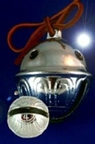 Polar Express Reindeer Bell #4 Chrome *LOT OF 3 BELLS* w/ Red Leather Tie