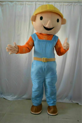 Bob The Builder Costume (New Bob The Builder Mascot Costume Cartoon Outfit Cosplay Dress)