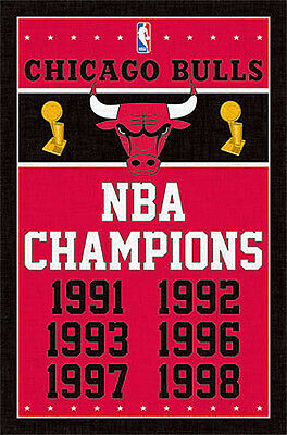- CHICAGO BULLS 6-TIME NBA CHAMPIONS NBA Basketball Team Logo Wall POSTER