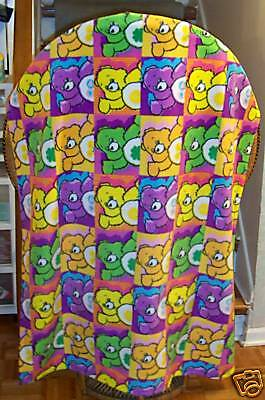 NEW Handmade CARE BEAR Bears Fleece Blanket Throw Colorful 40 x 56