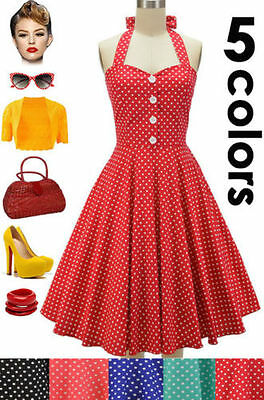 50s Style PLUS SIZE Miss Mabel POLKA DOT Pinup HALTER TOP Sun Dress - 5 COLORS!
