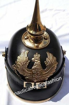 WW I&II Leather German Helmet Brass Screw Spike Pickelhaube FR Leather Armor