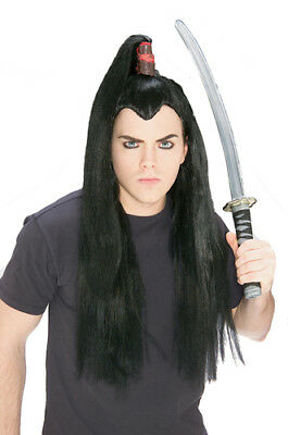 Samurai Long Black Hair Wig for Warrior Costume