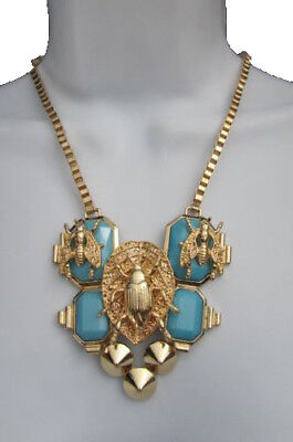 Women Fashion Necklace Gold Metal Chain Pendant Blue Bead Bugs Flies Earring - Bead Chain Necklace