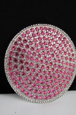 New Women Silver Metal Western Belt Buckle Big Round Shape Light Pink Rhinestone