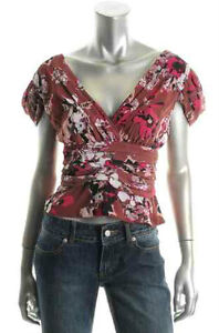 Karl Lagerfeld NEW Purple Double V-Neck Trimmed Cropped Blouse T