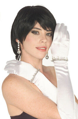 White Satin Gloves with Rhinestones Costume Accessory (Halloween Costumes White Gloves)
